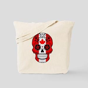 Canadian Sugar Skull with Roses Tote Bag