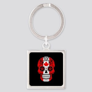 Canadian Sugar Skull with Roses Keychains