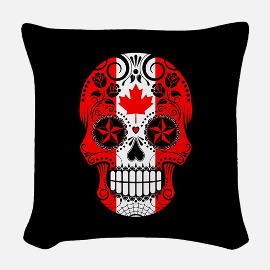 Canadian Sugar Skull with Roses Woven Throw Pillow