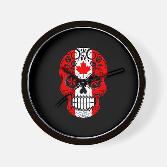 Canadian Sugar Skull with Roses Wall Clock
