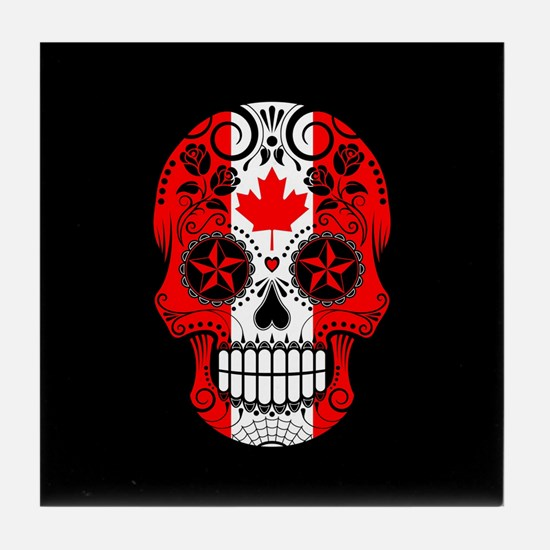 Canadian Sugar Skull with Roses Tile Coaster