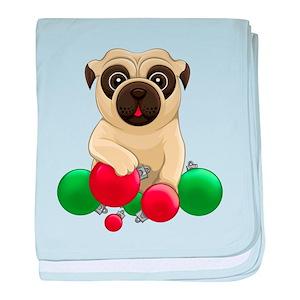 13f68c85956 Pug Christmas Baby Blankets - CafePress