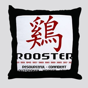 Chinese Zodiac Rooster Traits Throw Pillow