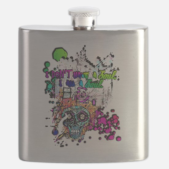 Funny Sugar skull cat Flask