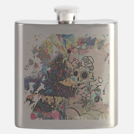 Unique Sugar skull cat Flask