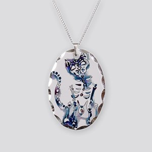 Sugar Skull Day of the Dead Ar Necklace Oval Charm