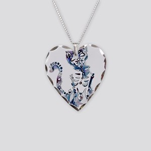 Sugar Skull Day of the Dead A Necklace Heart Charm