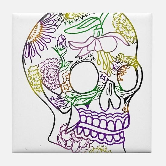 Sugar Skull Day of the Dead Artsy Ori Tile Coaster