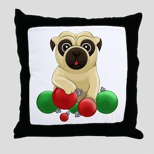 A Pug Christmas Throw Pillow