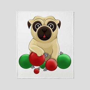 A Pug Christmas Throw Blanket