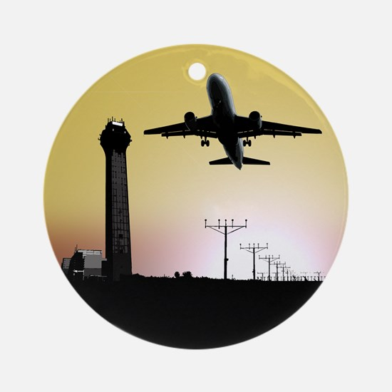 ATC: Air Traffic Control Tower & Plane Round Ornam
