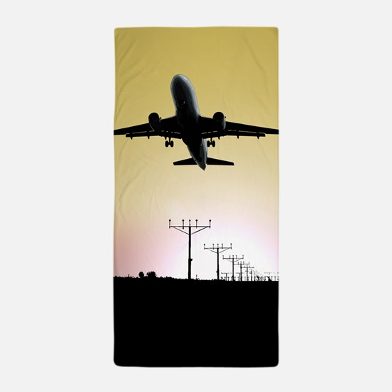 ATC: Air Traffic Control Tower & Plane Beach Towel