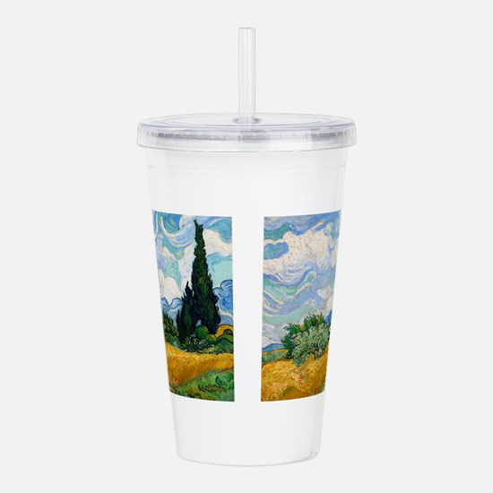 Wheat Field with Cypre Acrylic Double-wall Tumbler