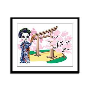Geisha under Cherry Trees Framed Panel Print