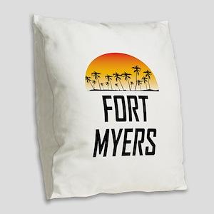 Fort Myers Sunset Burlap Throw Pillow