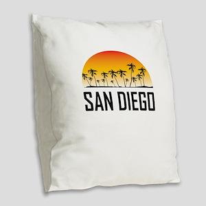 San Diego Sunset Burlap Throw Pillow