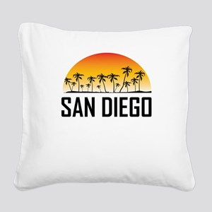 San Diego Sunset Square Canvas Pillow