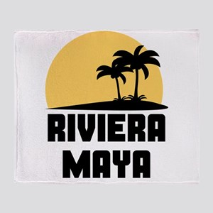 Palm Trees Riviera Maya T-Shirt Throw Blanket