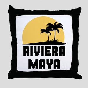 Palm Trees Riviera Maya T-Shirt Throw Pillow