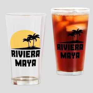 Palm Trees Riviera Maya T-Shirt Drinking Glass