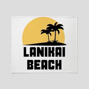 Palm Trees Lanikai Beach T-Shirt Throw Blanket