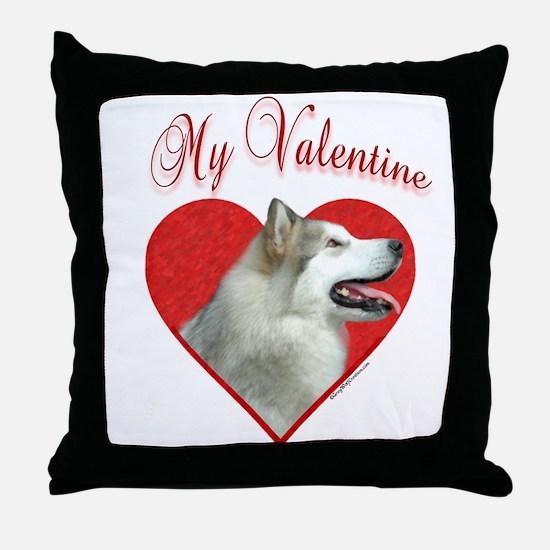 Malamute Valentine Throw Pillow