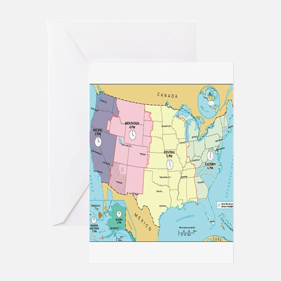 Time Zones United States Greeting Cards