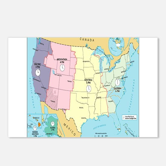 Time Zones United States Postcards (Package of 8)