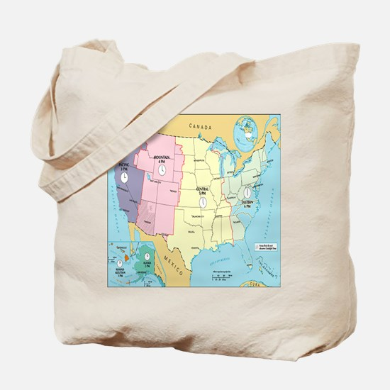 Time Zones United States Tote Bag