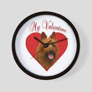 Aussie Terrier Valentine Wall Clock