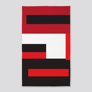 Black White and Red Square Area Rug