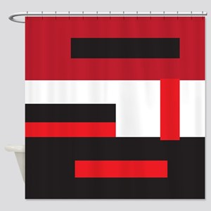 Black White and Red Square Shower Curtain