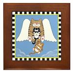 Angel Cat & 2 Kittens Framed Tile