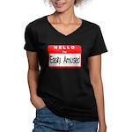 Hello I'm Easily Amused Women's V-Neck Dark T-Shir