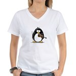 Violin Penguin Women's V-Neck T-Shirt