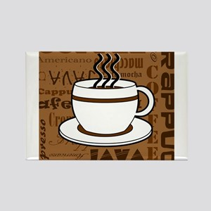 Coffee Words Jumble Print - Brown Magnets