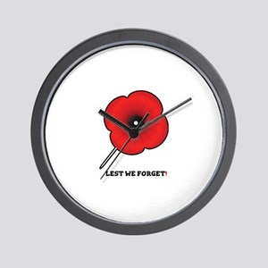 REMEBERANCE POPPY - LEST WE FORGET! Wall Clock