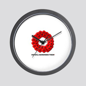 REMEMBRANCE POPPIES WREATH - LEST WE FO Wall Clock