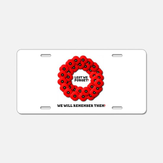 REMEMBRANCE POPPIES WREATH Aluminum License Plate