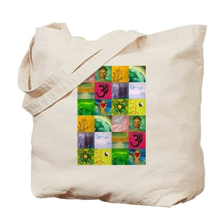 Smiling Buddha Patchwork Tote Bag