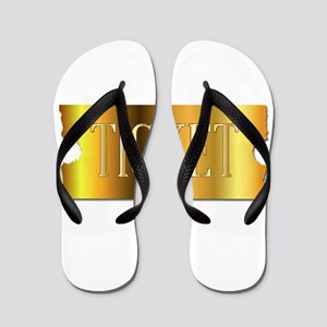 Simple Golden Ticket Flip Flops