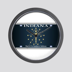 Indiana Flag License Plate Wall Clock
