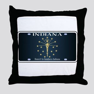 Indiana Flag License Plate Throw Pillow