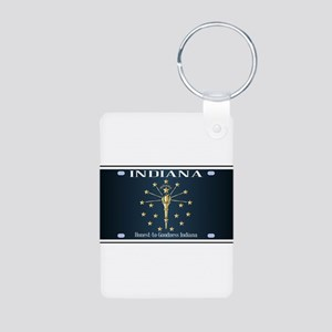 Indiana Flag License Plate Keychains