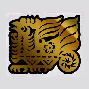 Chinese Zodiac Rooster Paper Cut Throw Blanket