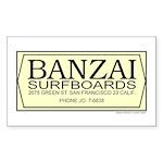 Banzai Surfboards Rectangle Sticker