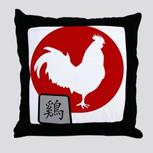 Asian Oriental Chinese Rooster Throw Pillow