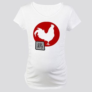 Asian Oriental Chinese Rooster Maternity T-Shirt