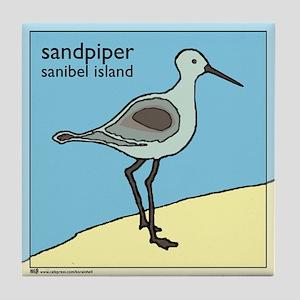 sandpiper   sanibel island Tile Coaster