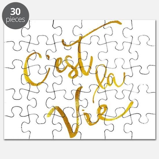 C'est La Vie Gold Faux Foil Metallic Motiva Puzzle